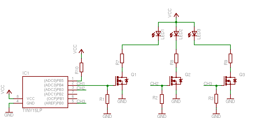 powerrgb tobiscorner q1 to q3 are n channel hexfet mosfet s logic level drive and a rdson at about 50mohms r1 to r3 are at about 2k2 r4 to r6 at about 15k and r7